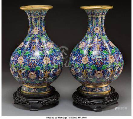 61750: A Pair of Chinese Gilt Bronze and Cloisonné Lob