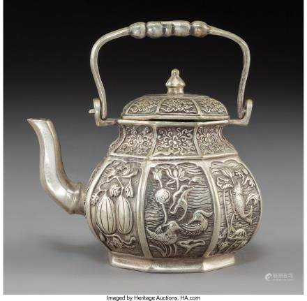 61752: A Chinese Silver-Plated Teapot Marks: Six-charac