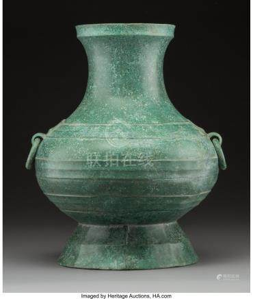 61754: A Chinese Han-Style Patinated Metal Vase 14 inch