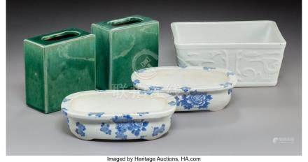 61756: Five Chinese Glazed Porcelain and Earthenware Pl