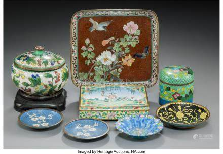 61758: Eight Various Chinese and Japanese Cloisonné an
