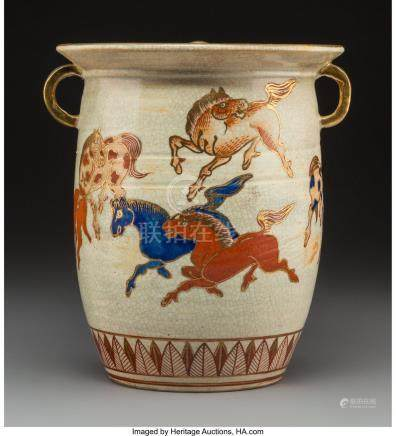 61760: A Japanese Satsuma Covered Jar with Galloping Ho
