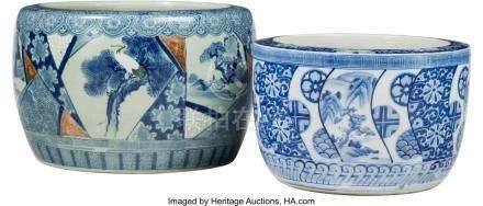 61762: Two Large Japanese Blue and White Porcelain Hiba