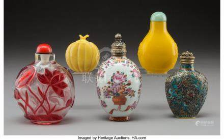 61763: Five Chinese Mixed Media Snuff Bottles Marks: (v