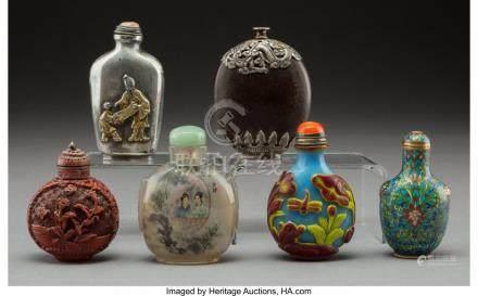 61764: Six Chinese Mixed Media Snuff Bottles Marks: (va