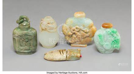 61765: Five Various Chinese Carved Jade, Jadeite, and H