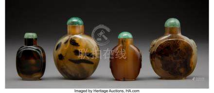 61773: Four Chinese Carved Agate Snuff Bottles 2-1/2 in