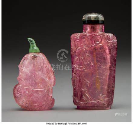 61774: Two Chinese Carved Tourmaline Snuff Bottles 2-3/