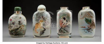 61775: Four Chinese Reverse Painted Glass Snuff Bottles