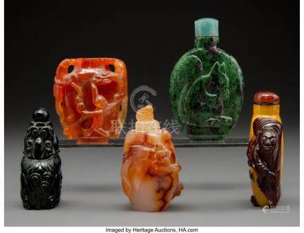 61776: Five Chinese Carved Hardstone Snuff Bottles 2-7/