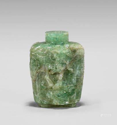 CARVED GREEN TOURMALINE SNUFF BOTTLE