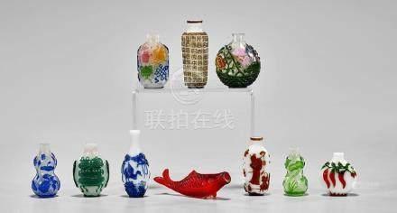 GROUP OF TEN GLASS SNUFF BOTTLES