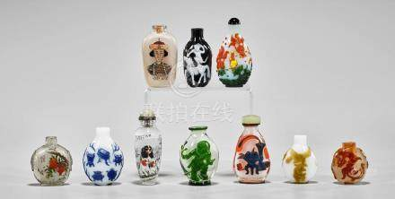 COLLECTION OF GLASS SNUFF BOTTLES