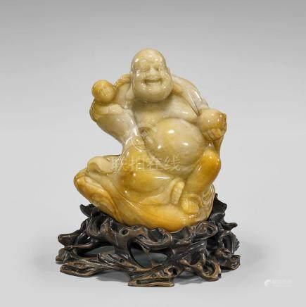 CARVED JADEITE FIGURE OF BUDAI