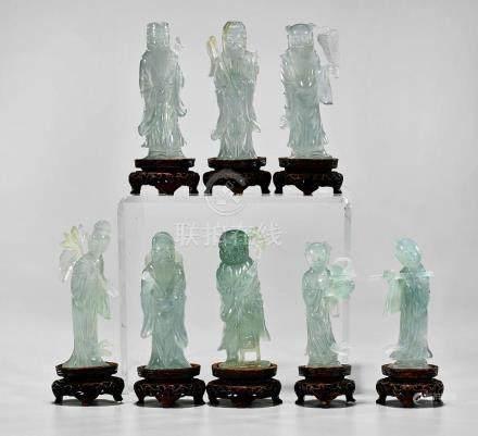 SET OF CARVED JADEITE FIGURES: Eight Immortals