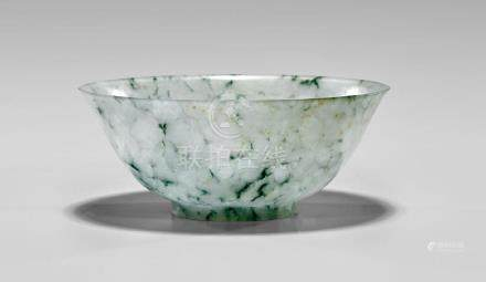 QING DYNASTY THINLY CARVED JADEITE BOWL