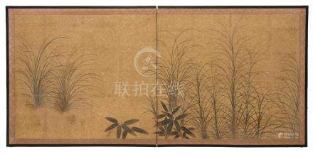 A PAIR OF FINE TWO PANEL JAPANESE SCREENS EDO PERIOD, EARLY