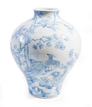 A JAPANESE BLUE AND WHITE SETO VASE MEIJI PERIOD