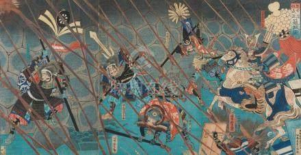 A JAPANESE WOODBLOCK PRINT TRIPTYCH YOSHITORA (1836-1880)