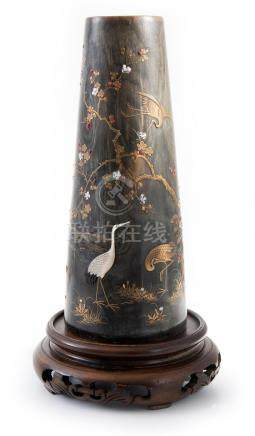 A JAPANESE HORN AND SHIBAYAMA STYLE VASE MEIJI PERIOD, 19TH