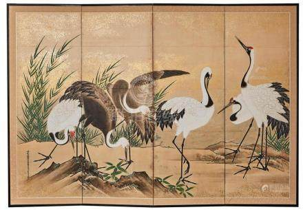 AN EARLY JAPANESE FOUR PANEL SCREEN KANO TOMONOBU, EDO PERIO