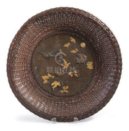 A JAPANESE INLAID CIRCULAR BRONZE TRAY MEIJI PERIOD