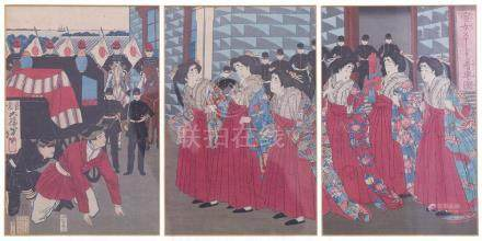 A JAPANESE FRAMED UKIYO-E TRIPTYCH TSUKIOKA YOSHITOSHI (1839