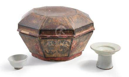 A KOREAN PAPIER MACHE BOX AND TWO WHITE WARES 19TH CENTURY