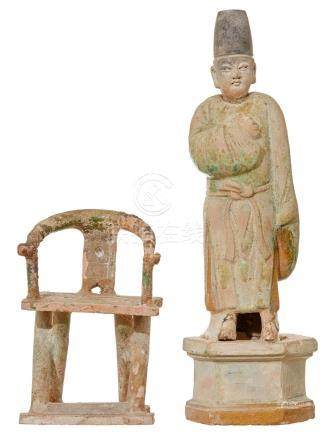 A CHINESE TOMB FIGURE TOGETHER WITH TOMB FURNITURE MING DYNA