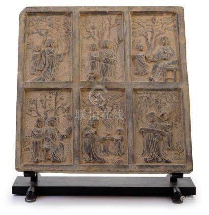 A RELIEF MOULDED GREY POTTERY FUNERARY TILE PROBABLY TANG DY