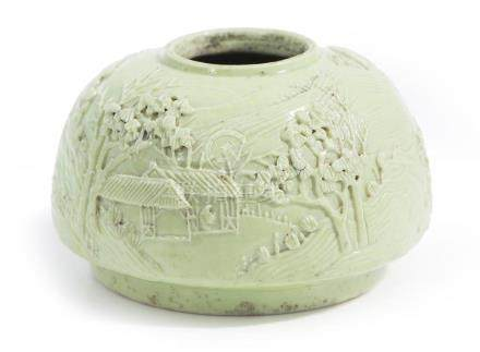 A CHINESE LIME GREEN MONOCHROME CARVED WATER COUPE WANG BINR