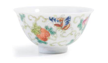A CHINESE FAMILLE ROSE WINE CUP QIANLONG MARK, 20TH CENTURY