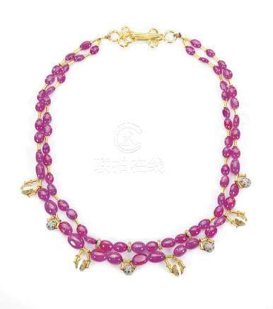 DOUBLE-STRAND RUBY & DIAMOND NECKLACE  粉紅寶石鑲鑽項鍊
