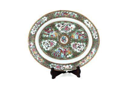 CHINESE CANTONESE PORCELAIN PLATE DECORATED BIRD AND BUTTERF