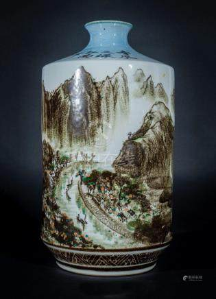 Chinese Art A large rouleau porcelain vase painted with land