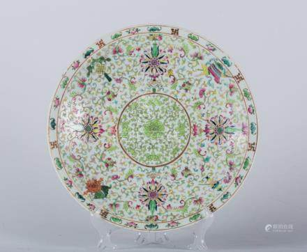 Chinese Art A famille rose porcelain dish painted with Buddh