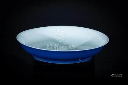 Chinese Art A monochrome blue dish bearing a Yongzheng six c