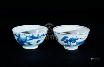Chinese Art Two blue and white porcelain bowls painted with