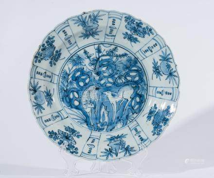 Chinese Art A blue and white porcelain dish painted with dee