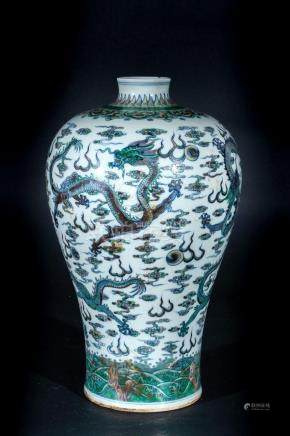 Chinese Art A meiping famille verte porcelain vase painted w