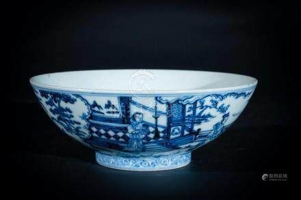 Chinese Art A blue and white porcelain bowl painted with cha