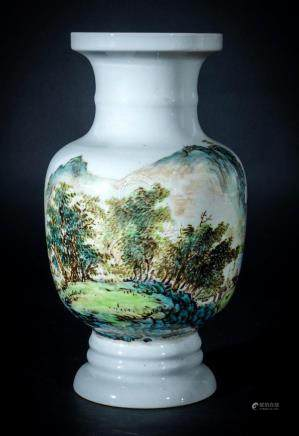 Chinese Art A porcelain vase painted with landscape China, 2