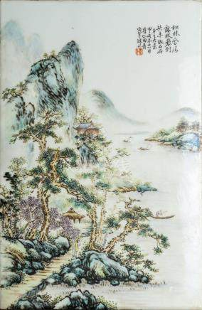Chinese Art A porcelain plaque painted with landscape, inscr