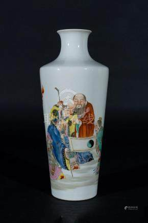 Chinese Art A porcelain bottle vase painted with characters