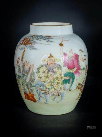Chinese Art A porcelain vase painted with arhat in garden an