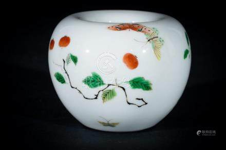 Chinese Art A porcelain brush washer painted with cherry bra