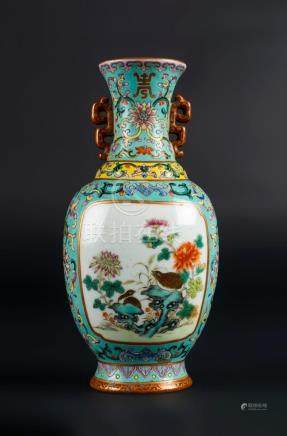 Chinese Art A porcelain wall vase painted with peonies and s