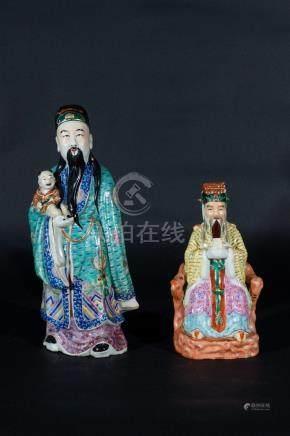 Chinese Art Two enamelled porcelain taoist figures both bear