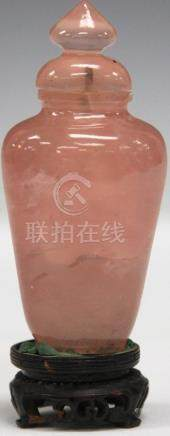 CHINESE ROSE QUARTZ SNUFF BOTTLE W/ STAND
