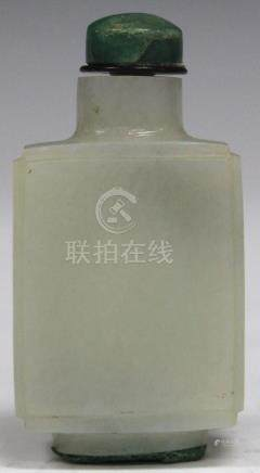 """EARLY CHINESE CARVED JADE SNUFF BOTTLE, 3 1/8"""" H"""